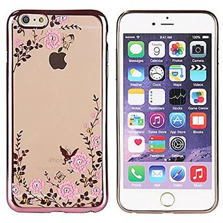 GGYY Flower Glitter Bling Crystal Rhinestone Diamonds Ultra Slim Gold Electroplate Plating Frame TPU Silicone Cases For