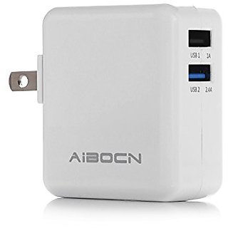 Aibocn Wall Charger Dual USB (2.4Amp 1.0Amp Output) Smart Travel Charger Adapter (Folding Plug) for Apple iPhone 6, 6 Pl