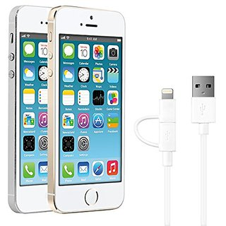 MFI certified Micro-USB cable with Lightning adapter by kwmobile in white. Charges and synchronises your Apple iPhone 5