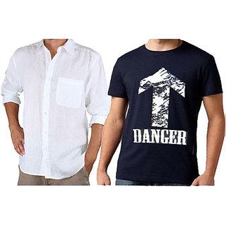 Full Sleeve Linen Shirt & Danger Printed Round Neck Tshirt