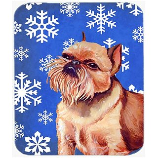 Carolines Treasures Brussels Griffon Winter Snowflakes Holiday Mouse Pad/Hot Pad/Trivet (LH9269MP)