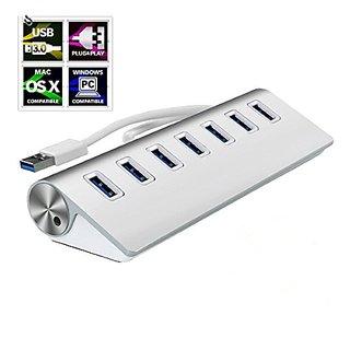 Premium 7 Port Aluminum USB 3.0 Hub for iMac, MacBook, MacBook Pro, MacBook Air, Mac Mini, PC & Laptop (22 inch long 2-F