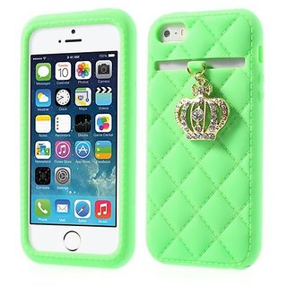 JUJEO Diamond Crown Flex Silicone Case for iPhone 5s 5 - Retail Packaging - Green