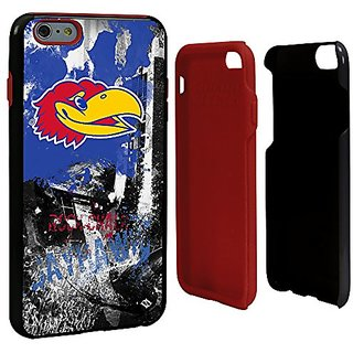 NCAA Kansas Jayhawks Paulson Designs Spirit Hybrid Case for iPhone 6 Plus, One Size, Black