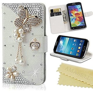 AMASELL Samsung Galaxy Core Prime Bling Crystal Diamond Handmade Folio Wallet Stand PU Leather Case with cash/card holde