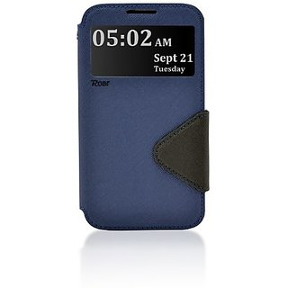 Roar- Super Slim PU Leather/ Diary Wallet View Case for Samsung Galaxy Note 2 II N7100, Navy/Black