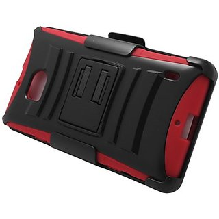 Eagle Cell Nokia Lumia 929 Hybrid Skin Case with Stand and Holster - Retail Packaging - Red/Black