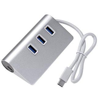 USB C Charging Hub,Yerwal USB-C to 3-Port USB 3.0 Aluminum Hub with 1 USB C (Type C) Input Charging Port for Apple MacBo