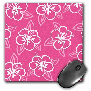 3dRose LLC 8 x 8 x 0.25 Inches Mouse Pad, Hawaiian Hibiscus Flower Print - Pink and White (mp_77501_1)