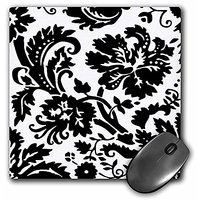 3dRose LLC 8 X 8 X 0.25 Inches White Damask With Black Large Print Stylish Flowery Swirls Mouse Pad (mp_151444_1)