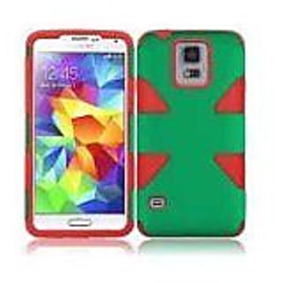 HR Wireless Samsung Galaxy S5 Dynamic Slim Hybrid Cover Case, Dark Green/Red