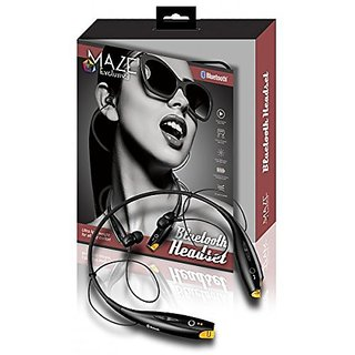 Wireless Bluetooth Headset By Maze Exclusive - Black Hands Free Stereo Headphones with Microphone - Comfortable Earbuds