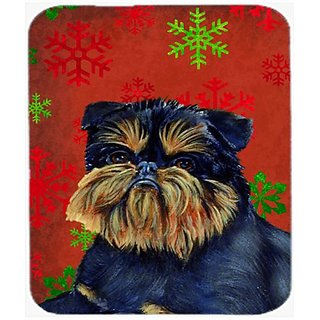 Carolines Treasures Brussels Griffon Red Green Snowflakes Christmas Mouse Pad/Hot Pad/Trivet (LH9343MP)
