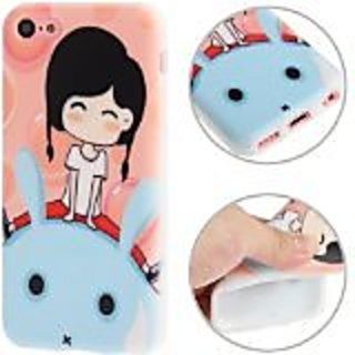JUJEO Cartoon Lovely Girl Pattern TPU Protective Case for iPhone 5C - Non-Retail Packaging - Multi Color
