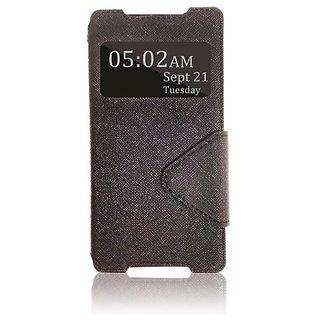 Roar- Super Slim PU Leather/ Diary Wallet View Case for Sony XPERIA Z2 L50W, Black/Black