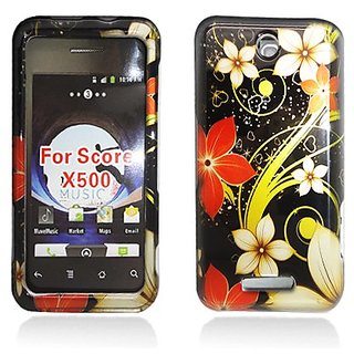 Aimo Wireless ZTEX500PCIMT063 Hard Snap-On Image Case for ZTE Score M X500 - Retail Packaging - White/Red Flowers