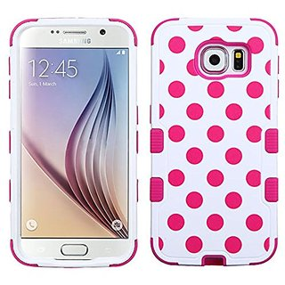 MyBat Samsung G920 Galaxy S6 Tuff Hybrid Protector Cover - Retail Packaging - Hot Pink Polka Dots White/Hot Pink