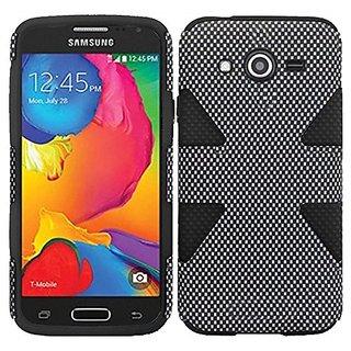 HR Wireless Samsung Galaxy Avant Dynamic Slim Hybrid Cover Case - Retail Packaging - Carbon Fiber/Black