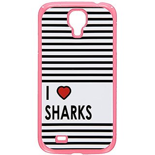 Graphics and More I Love Heart Sharks Snap-On Hard Protective Case for Samsung Galaxy S4 - Non-Retail Packaging - Pink