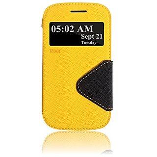 Roar- Super Slim PU Leather/ Diary Wallet View Case for Samsung Galaxy Express I437 I8730 (Yellow/Black)