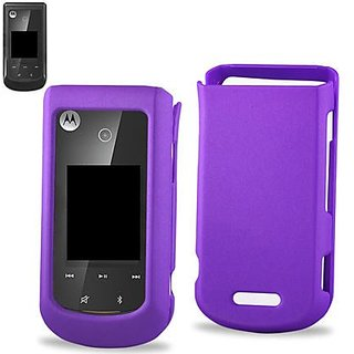 Reiko Rubberized Protector Cover for Motorola WX415 - Retail Packaging - Purple