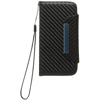 Zizo Horizontal Flap Pouch with Credit Card Pockets for iPhone 5C - ID Style - Retail Packaging - Black Carbon Fiber