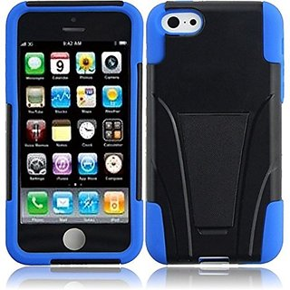 HR Wireless T-Stand Cover for iPhone 5C - Retail Packaging - Black/Dark Blue