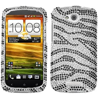 Asmyna HTCONEVXHPCDM010NP Dazzling Luxurious Bling Case for HTC One VX - 1 Pack - Retail Packaging - Black Zebra