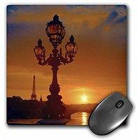3dRose LLC 8 X 8 X 0.25 France Paris Bridge Street Lamp Sunset Mel Curtis Mouse Pad (mp_81538_1)
