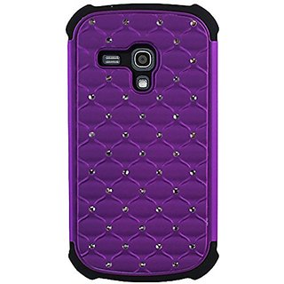 CP 2-In-1 Hard Case and Silicone Diamond Stud Hybrid Case for Samsung S3 Mini I8190 - Non-Retail Packaging - Purple/Blac