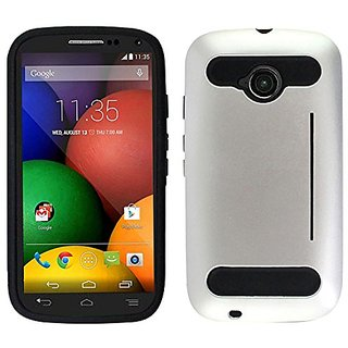 Zizo Moto E LTE 2nd Generation Durable TPU and PC Cover with Card Cutout as Kickstand - Retail Packaging - Metallic Silv