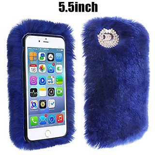 IPhone 6 plus Case,Veatool Rex Rabbit Fur Hair Luxury Fashion Fluffy Cover Plush for iPhone 6 6s plus 5.5inch - Blue
