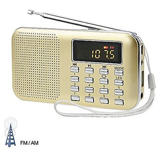 LEFON Mini Digital AM / FM Radio Media Speaker MP3 Music Player Support TF Card / USB Disk with LED Screen Display and E