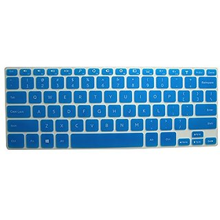 Blue Translucent Ultra Thin Soft Silicone Keyboard Protector Cover Skin for 14-inch Dell Inspiron 14 7000 series, 14-743