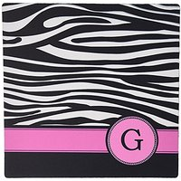 3dRose LLC 8 X 8 X 0.25 Inches Mouse Pad, Letter G Monogrammed Black And White Zebra Stripes Animal Print With Hot Pink