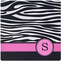 3dRose LLC 8 X 8 X 0.25 Inches Mouse Pad, Letter S Monogrammed Black And White Zebra Stripes Animal Print With Hot Pink