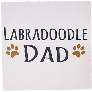 3dRose LLC 8 x 8 x 0.25 Inches Mouse Pad, Labradoodle Dog Dad Doggie By Breed Brown Muddy Paw Prints Doggy Lover Pet Own