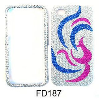 Cell Armor Snap-On Case for iPhone 4/4S - Retail Packaging - Full Diamond Crystal, Pink Bird with Blue Feather