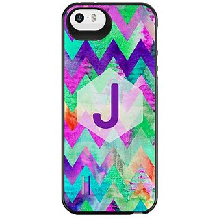 Uncommon LLC Seafoam Crayon Monogram J Power Gallery Battery Charging Case for iPhone 5/5S - Retail Packaging - Multicol