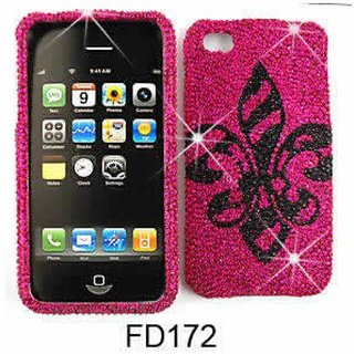 Cell Armor Snap-On Case for iPhone 4/4S - Retail Packaging - Full Diamond Crystal, Black Royal Badge on Pink