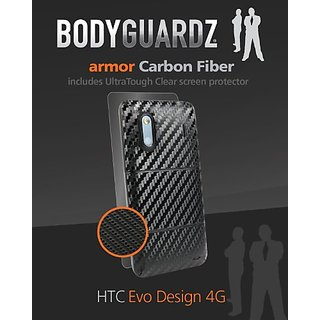 BodyGuardz BZ-ACBED-1011 BodyGuardZ Carbon Fiber Armor Full Body Protectors for HTC Evo Design 4G-Skin-Retail Packaging