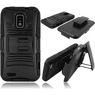 HR Wireless Side Stand Cover Case with Holster for ZTE Warp LTE - Retail Packaging - Black