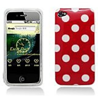 Aimo Wireless IPHONE4GSKC303 Soft and Slim Fabulous Protective Skin for iPhone 4 - Retail Packaging - Red/White Polka Do