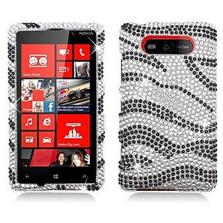 Eagle Cell PDNK820F370 RingBling Brilliant Diamond Case for Nokia Lumia 820 - Retail Packaging - Black/Siver Zebra