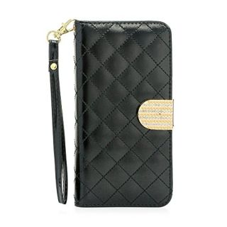 Gearonic Rhinestones Magnetic PU Leather Credit Card Holder Flip Wallet Case Cover for Apple iPhone 6 Plus 5.5-Inch - No