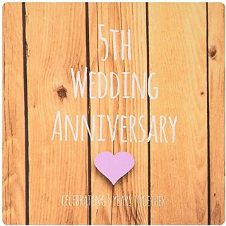 3dRose LLC 8 x 8 x 0.25 Inches Mouse Pad, 5th Wedding Anniversary Gift - Wood Celebrating 5 Years Together (mp_154433_1)