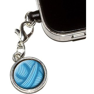 Graphics and More Blue Yarn Ball - Crochet Anti-Dust Plug Universal Fit 3.5mm Earphone Headset Jack Charm for Mobile Pho