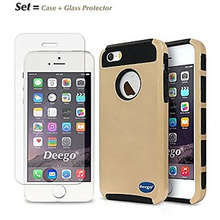 Set Kit of Apple Iphone 5 5s SE Case+1pcs Tempered Glass Screen Protectors, Cafeleo 2 in 1 Style Ultra Thin Cover and Pr