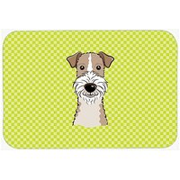 Carolines Treasures Checkerboard Lime Green Wire Haired Fox Terrier Mouse Pad/Hot Pad/Trivet (BB1309MP)