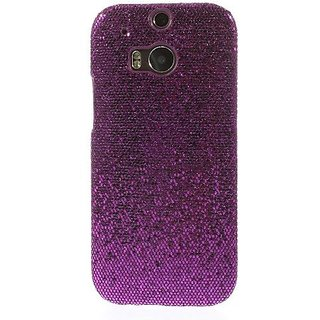 JUJEO HTC One M8 Glittery Sequins Hard Shell - Non-Retail Packaging - Purple